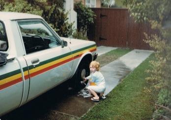 Washing Dad's car